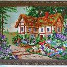Vintage Needlepoint Architectural Tudor House Green Garden Hills Summer Framed