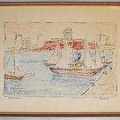 Moderne Vintage Watercolor Painting M Petri Italy Darsena Port Livorno Boat Fort