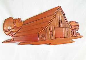Vintage Folk Art Carving Carved Plaque Ray Quinn Hand Crafted Country Scene Barn