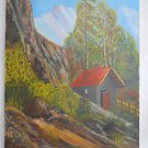Yosemite California Vintage Naive Folk Painting Cabin Western Landscape Warren