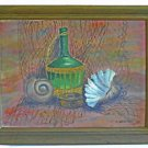 Vintage Painting P Schecter 63 Still Life Sea Shells Wine Bottle Fishing Net Mod