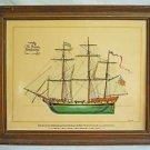 Vintage Watercolor Painting Privateer Rattleshake Ship Rendering Marine US Flag