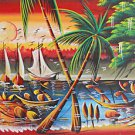 Vintage Haitian Painting Fishermen at Work Boats Tropical  Seascape M Manuel