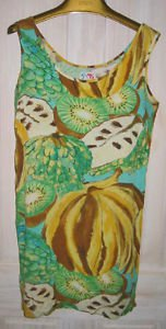 Jams World Vintage Hawaiian Fruit Print  Deadstock Shift Surfer Dress S NOS