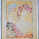 Modernist Erotic Female Lovers Vintage Watercolor Painting Petri Italy Hats Fans