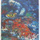 Cowboy Campfire Cooking Vintage Painting Evans 50s Western Night Naive Impasto