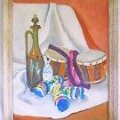 Vintage Folk Art Painting Allegorical Conga Bottlecap Man Doll Bongo Drums Leis