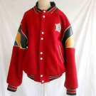 Jeff Hamilton Jacket Vintage Varsity Baseball Red Wool Leather Patch Trim Bomber