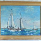 New York Yacht Racing Folk Antique Painting 1946 Skyline Harbor Hudson  Darling