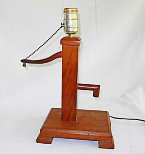 Folk Country Americana Vintage Lamp Water Pump Ranch Farm Cabin Wood Table