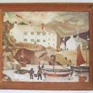 Folk Naive Vintage Painting Fishing Village Fisherman Boats Street Life Mario