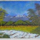 Vintage Painting Western Landscape Plein Air Colorado  Rapids Mountain Arelis 89