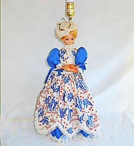 Political Lamp Vintage Victorian Costume Lady Doll Fashion Big Patriotic Dress