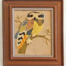 Owl Vintage Modernist Needlework Huge Branch 3D Textured Crewel Ornithology