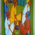 Vintage Haitian Painting Original Folk Art Modernist Women Sad Faces Charles