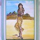 Folk Vintage Painting Fashionista Snapshot Chic Woman Full Length Beach Lily