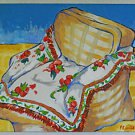 Painting Folk Art Naive Gingham Arm Chair Floral Coverlet Shabby Chic Blondie
