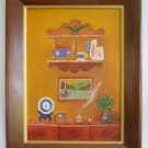 Vintage Painting Folk Naive Painting in a Painting Antique Display Huff 1965