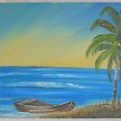 Tropical Folk Art Naive Vintage Painting Dream Beach Seascape Boat Palm Lucille