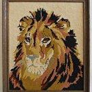 Vintage Needlepoint Lion Big Cat Close Massive Head Portait Animal Framed Decor