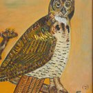 Vintage Painting Owl Ornithology Perched Branch Nest Carved Frame Broadwyn MO 81