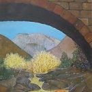 Vintage Folk Outsider Painting Western Mountain Aspen Pine Landscape Realism FAG