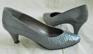 Snakeskin Shoes Coimbra Vintage 70s Gray Ladylike Pumps Leather Shaped Heel 7