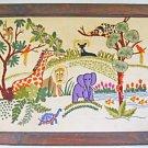 Folky Vintage Needlework Peaceable Africa Kingdom Leopard Elephant Giraffe