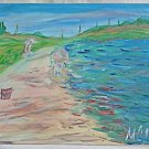 Seascape Vintage Naive Painting MCA Children Playing Beach Sand Bucket Dunes