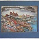 Folk Vintage Painting Rocky Shore Forbidding Houses Gray Sky Peru Nebraska Frame