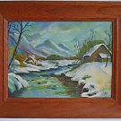 Folk Naive Vintage Painting Mountain Cabins River Western Snow Primitive  HE