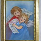 Vintage Folk Naive Outsider Painting Girl Angels With Sheet Music Singing Julie