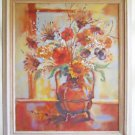 Sunflowers Vintage Original Impressionist Painting Still Life Flowers Huge Fran