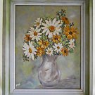 Vintage 70s Painting Floral Still Life Daisy Flowers Bold Frame Impasto Walbo