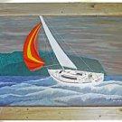 Vintage Painting Marine Sailboat Racing Yacht Storm Harry Newton Massive Framed