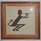 Vintage Textile Weaving Mythical Pan Satyr Male Flute Musician Faux Bamboo Frame