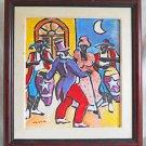 Conga Folk Outsider Cubist Vintage Painting Street Dancer Black Band Man Tails