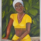 Black Folk Vintage Naive Original Painting Babalou Conga Drum Girl Tropic Aldao