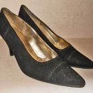 Valentino Shoes Vintage 80 Suede Perforated Pumps Contour Shaped Heel Black 9