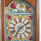 Folk Art Vintage Needlework Face Wall Clock Wood Case Squirrel Flowers Country