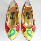 Vintage 70s Andrea Pfister Pumps Snakeskin Shaped Heel Swirling Colorblock Art 5
