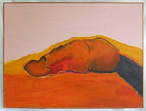 Modernist Abstract Vintage Painting Hunt Seat Male Body Sleeping West Bradford