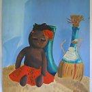 Folk Outsider Vintage Painting Topless Black Doll Chianti Mid Century Bergman