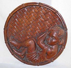 Vintage Wood Carving Cherub Basket Wall Medallion Bowl Hollywood Regency