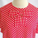 Vintage 70s Albert Nipon Deadstock Maxi Dress 8 Red Polka Dot Tier Sheath Summer