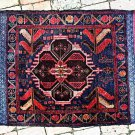 """Antique Oriental Persian Rug Carpet 32"""" x 54"""" Red Blue Shabby Chic"""