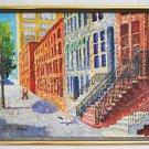 Vintage Folk Original Painting Lower East Side Tenement New York Celia
