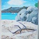 Original Folk Art Naive Marine Painting Boating Beach Cove Yacht Cruizin MSH