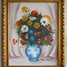 Folk Naive Modernist Vintage Painting Botanical  Bulging Flowers Daisy J Laurent