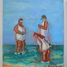 Outsider Folk Original Painting Humor Fat Tourists Camera Surf Beach C Larson
